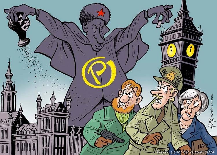 Brexit : La peur sur Londres dessin d'alex parodiant le projet de couverture de la marque jaune Blake Mortimer centaurclub