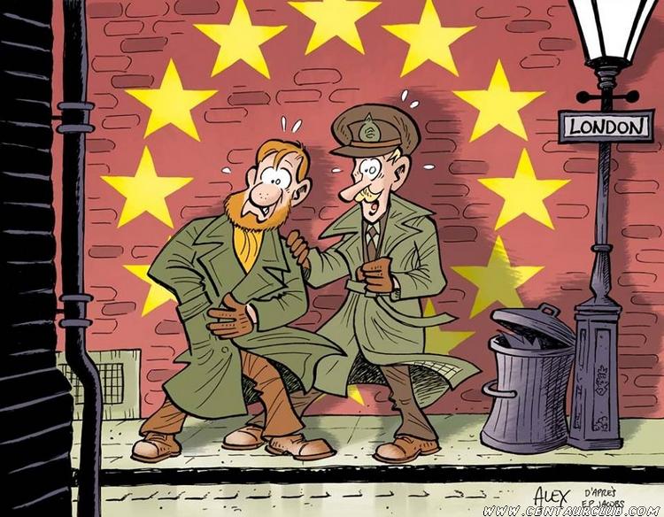 Brexit : La peur sur Londres dessin d'alex parodiant la marque jaune Blake Mortimer centaurclub