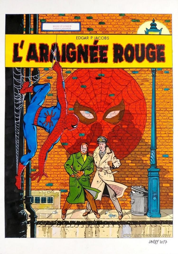 """L'araignée rouge par Larry Camarda hommage à la couverture de Blake et Mortimer """"La marque jaune"""". centaurclub"""