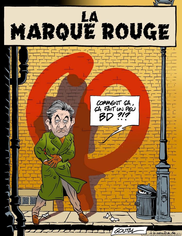 Détournement de la couverture de la Marque jaune par Alain Goutal, avec mélenchon à la place de Blake et Mortimer. centaurclub