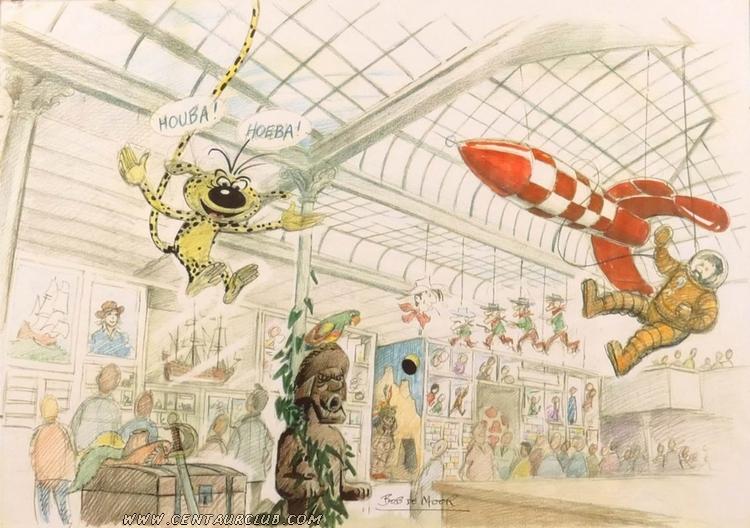 dessin de Bob de Moor avant l'inauguration du CBBD. Vente drout. centaurclub