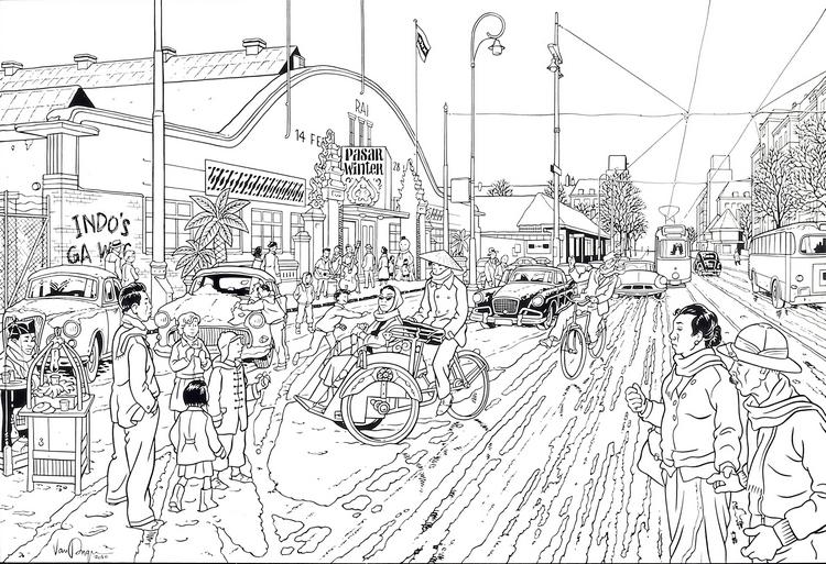 dessin de Peter Van Dongen Amsterdam: Pasar Winter - centaurclub