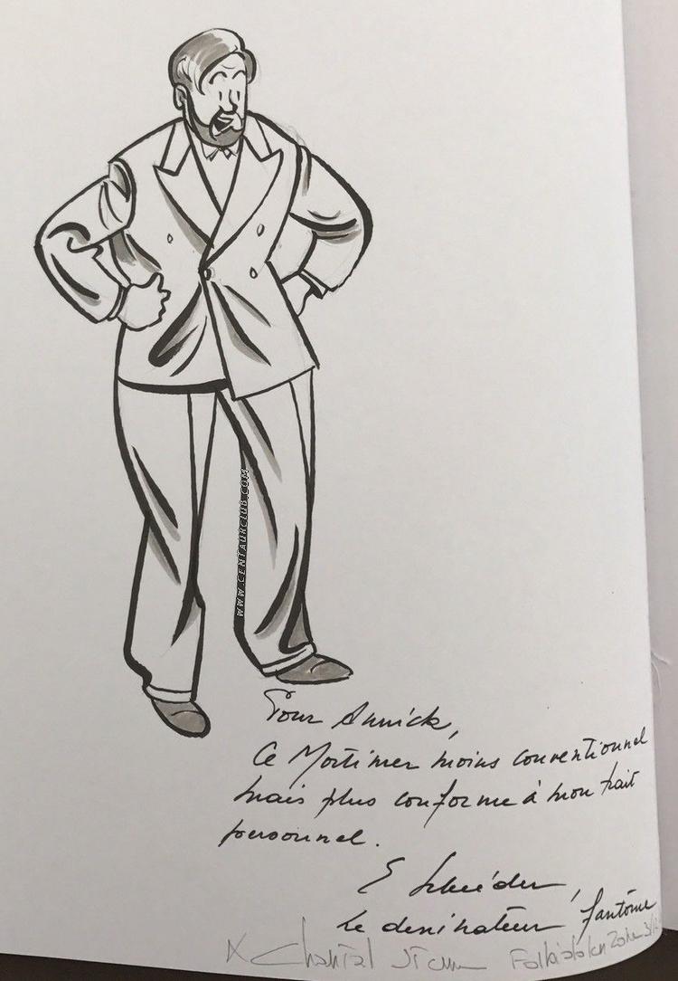 Etienne schreder dedicace le professeur mortimer dans un style très personnel centaurclub