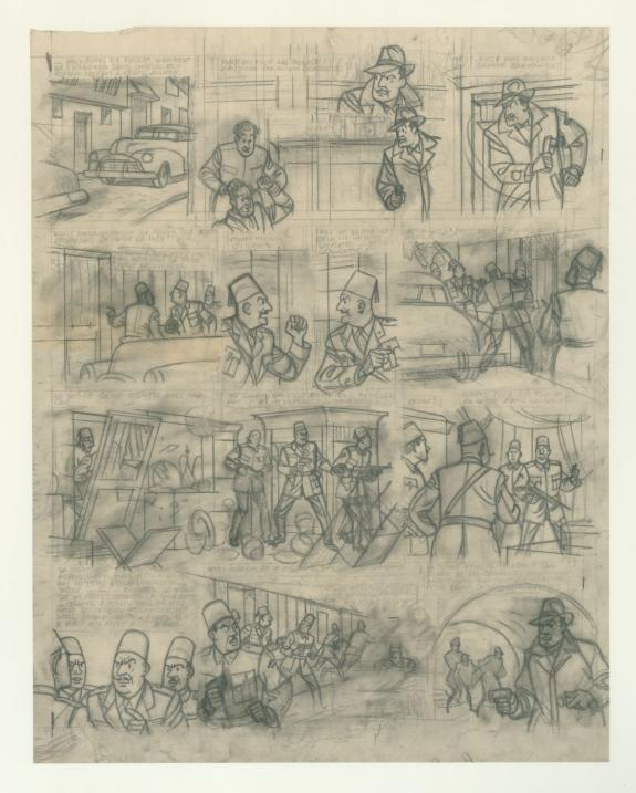Crayon sur calque de la planche 33 du mystère de la grande pyramide par Edgar P. JACOBS - centaurclub - Dargaud - Daniel MAGHEN