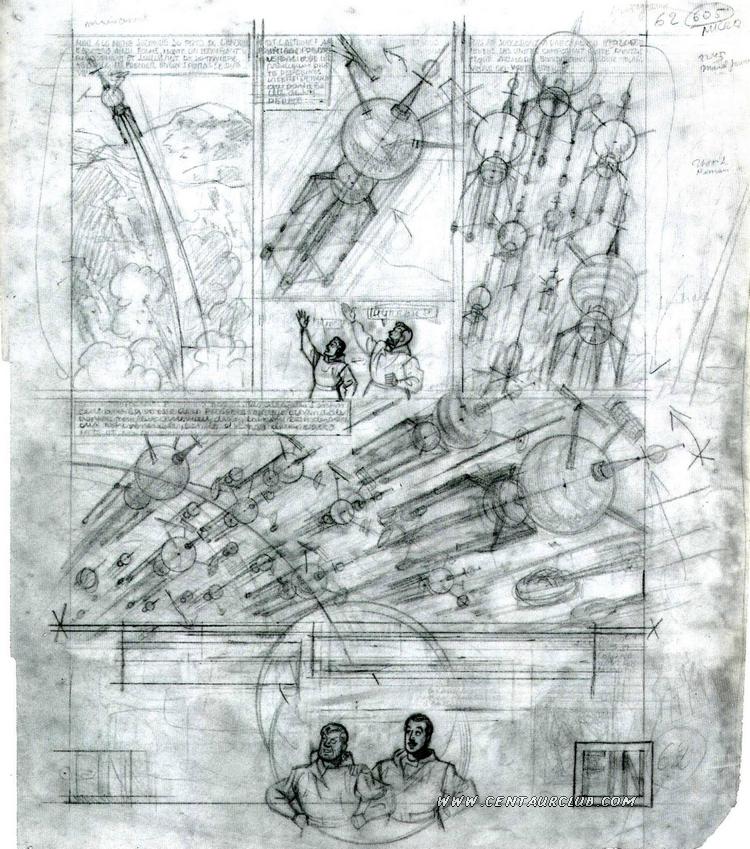 Blake et Mortimer par Jacobs, crayonné sur calque de la la planche 62 de l'énigme de l'Atlantide.