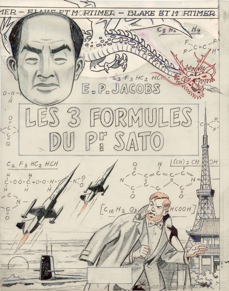 Blake et Mortimer, crayonné de Jacobs pour la couverture des 3 formules du professeur Sato tome 1 - Mortimer à Tokyo - centaurclub