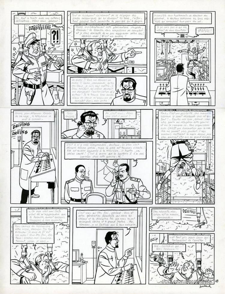 Blake et Mortimer planche de la machination Voronov par André Juillard sur un scénario d'Yves Sente. centaurclub