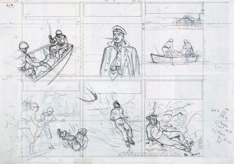 crayonné de la partie haute de la planche 41 de l'étrange rendez-vous par Ted Benoit centaurclub