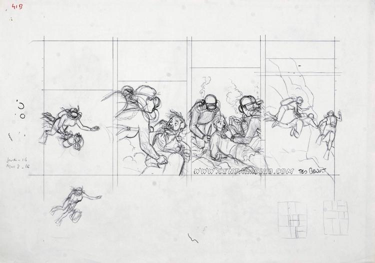 crayonné de la partie basse de la planche 41 de l'étrange rendez-vous par Ted Benoit centaurclub