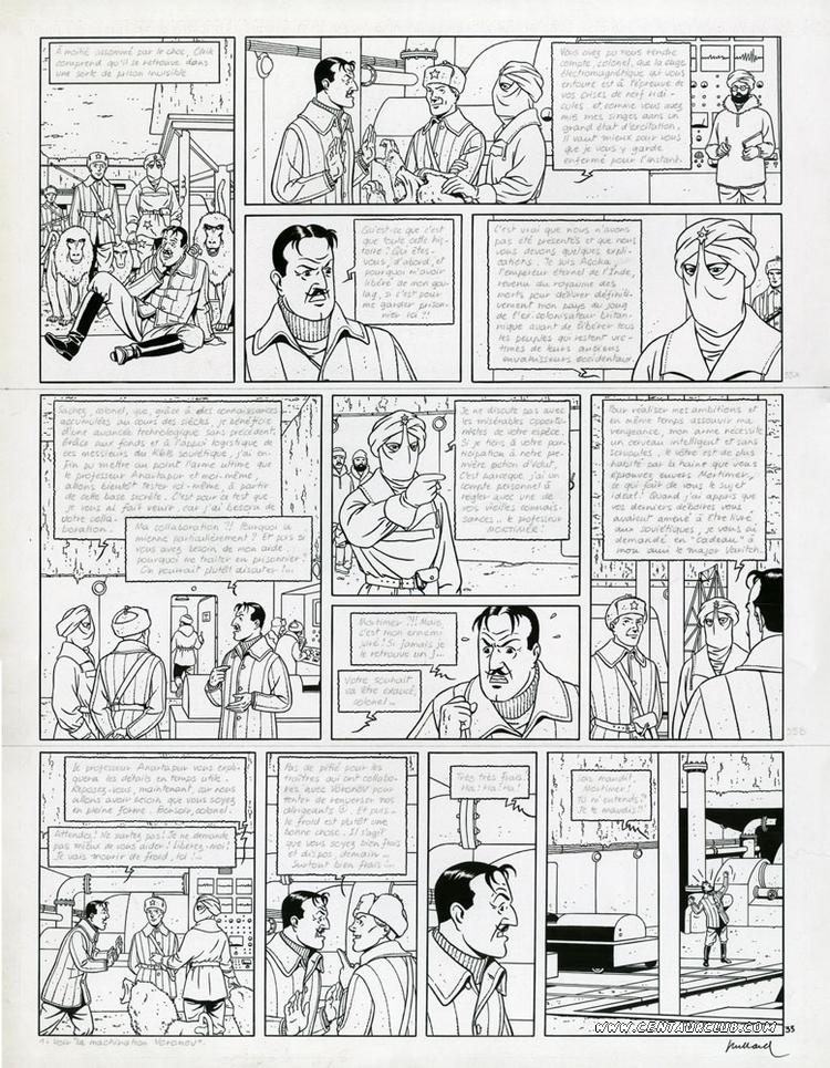 Blake et Mortimer planche des sarcophages du sixieme continent par André Juillard sur un scénario d'Yves Sente. centaurclub