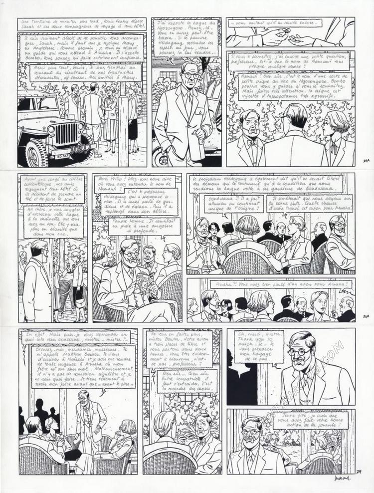 Blake et Mortimer planche le sanctuaire du Gondwana par André Juillard sur un scénario d'Yves Sente. centaurclub