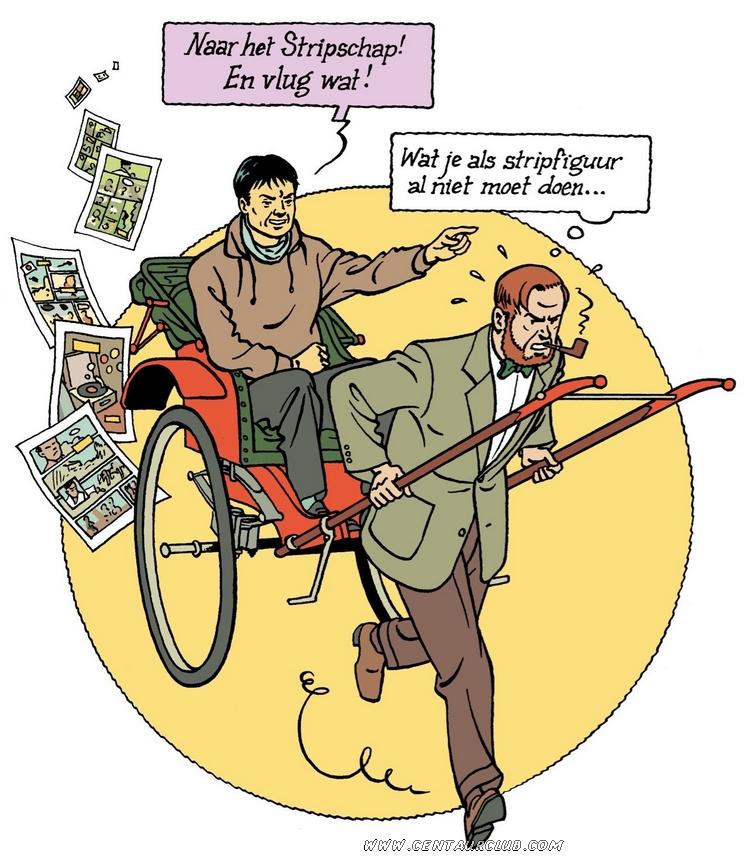 Peter Van Dongen assis dans un chariot tiré Mortimer centaurclub