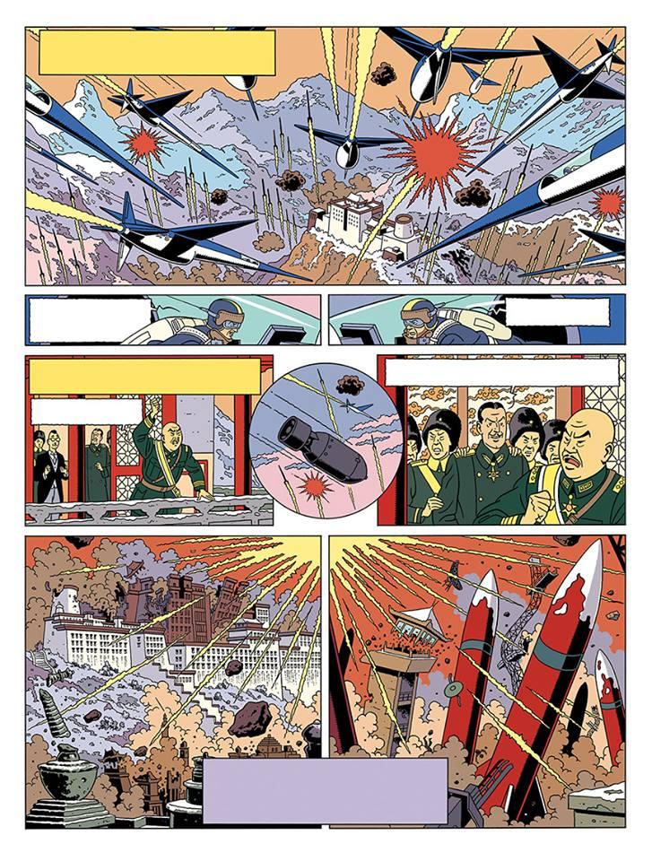 Blake et Mortimer menace sur l'empire première planche couleur par Peter Van Dongen centaurclub