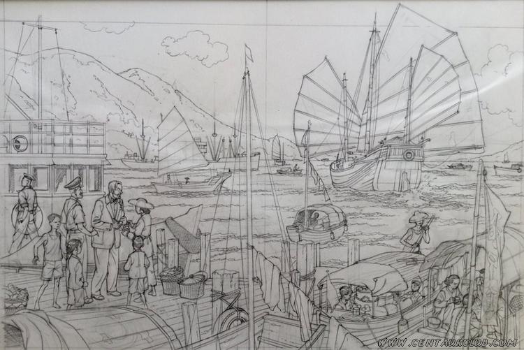 La vallée des immortels dessin de Peter Van Dongen pour l'édition bibliophile blake et Mortimer centaurclub