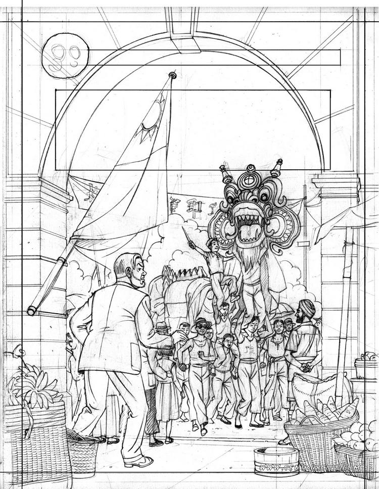 Blake et Mortimer projet de couverture encrée par Peter Van Dongen Edition Portugaise centaurclub