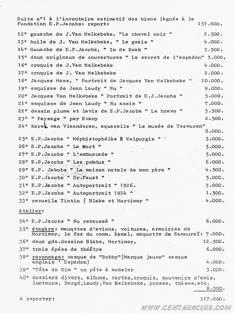 page 2 de l'inventaire Willems planche Blake Mortimer volées centaurclub