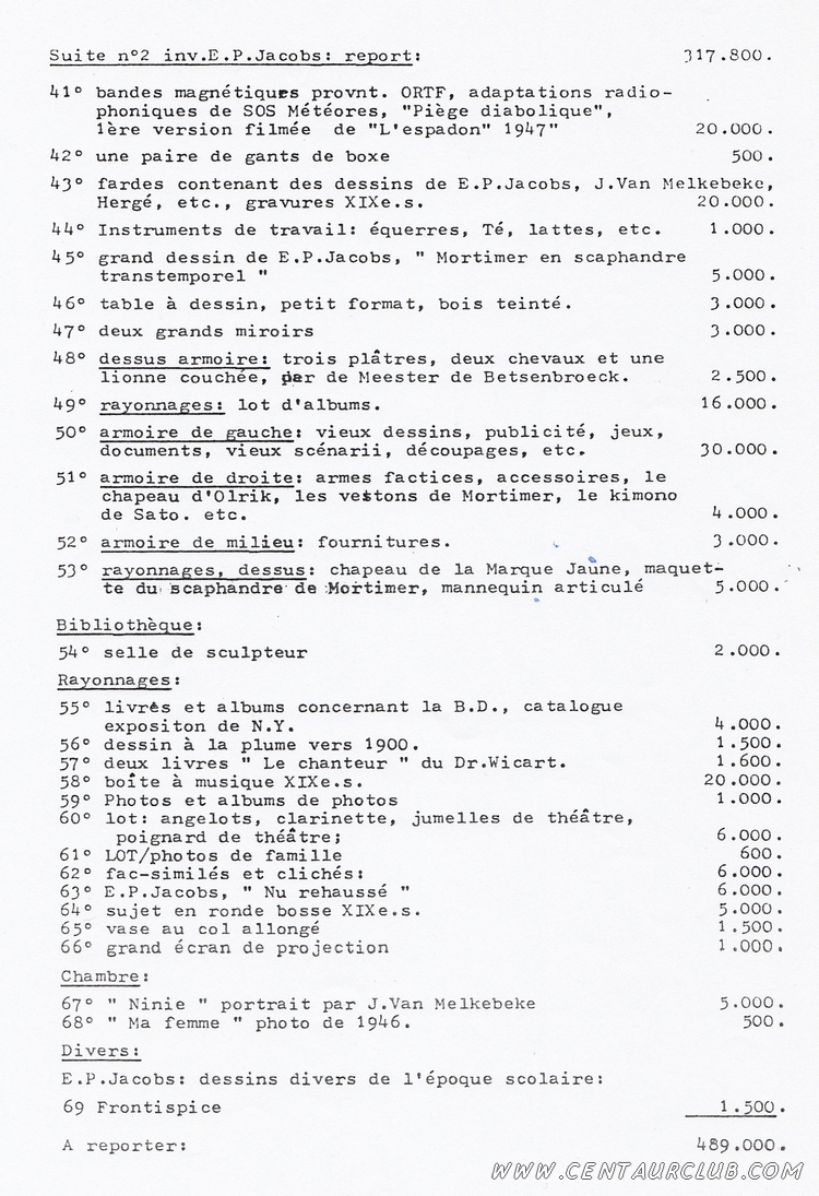 page 3 de l'inventaire Willems planche Blake Mortimer volées centaurclub