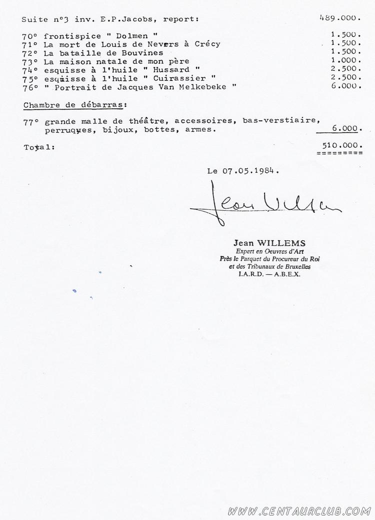 page 4 de l'inventaire Willems planche Blake Mortimer volées centaurclub