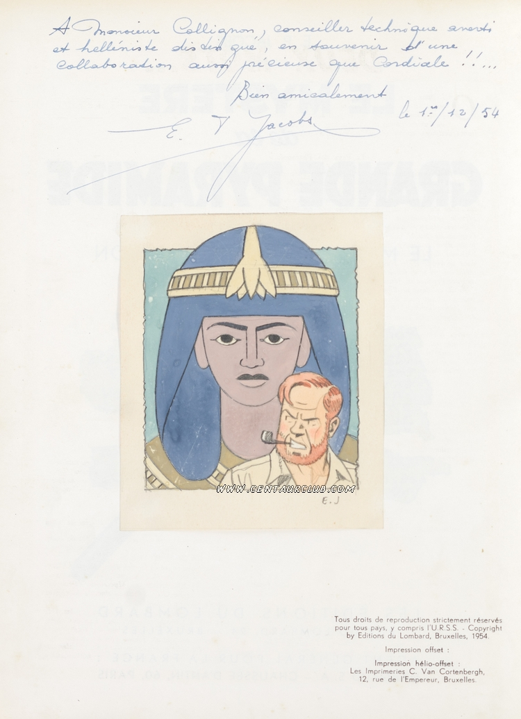 Dédicace de Jacobs du 17 décembre 1954 - Le professeur Mortimer devant un sarcophage-centaurclub