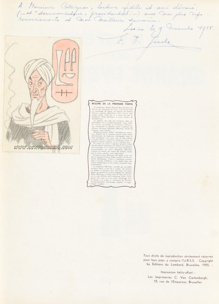 Dédicace de Jacobs du 9 novembre 1955- Le sheik Abdel Razek-centaurclub