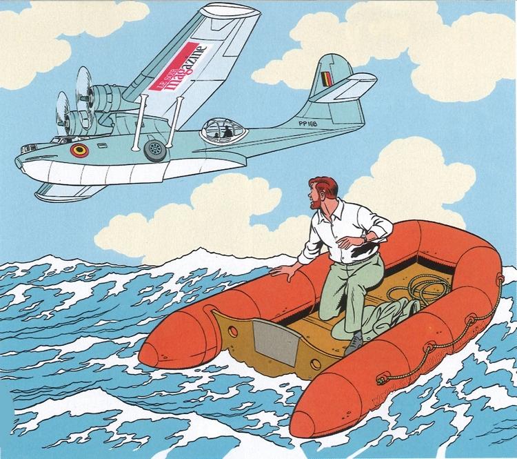 blake mortimer dessin Antoine Aubin Mortimer dans un bateau