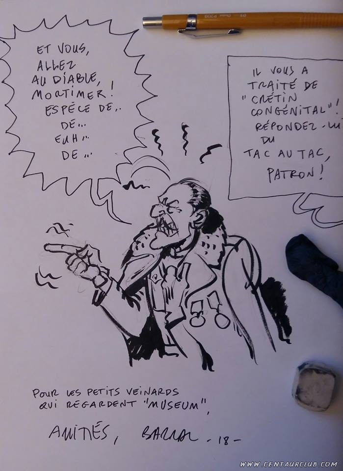 BLake et Mortimer parodie de Nicolas Barral Tac au tac museum TV dedicace philip et Francis centaurclub