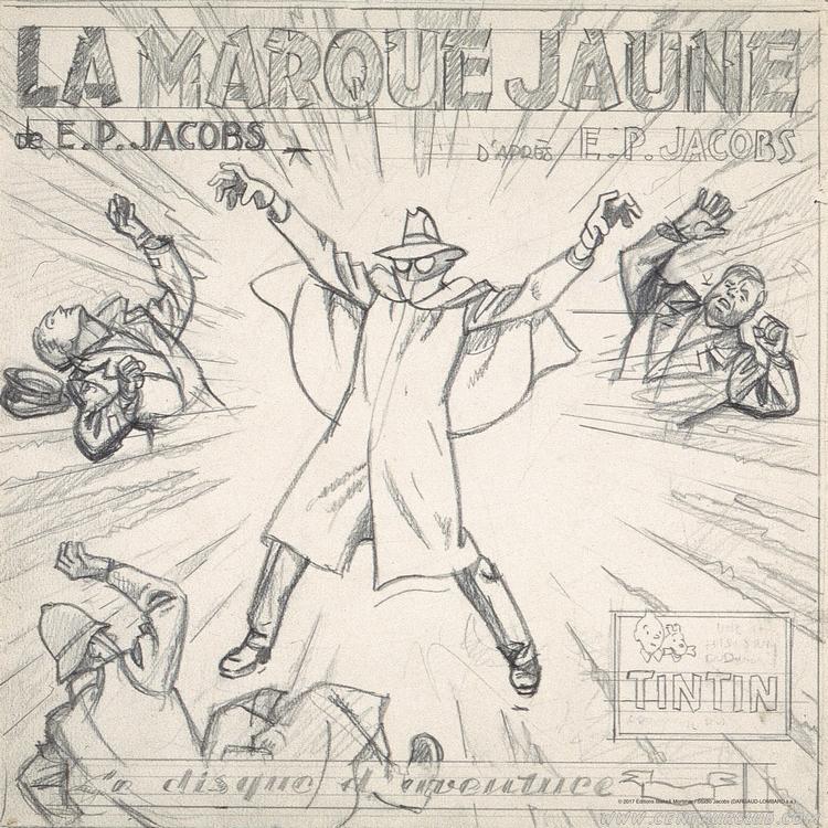 blake mortimer crayonné du disque vinyle la marque jaune centaurclub