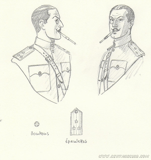crayonné andré juillard du colonel Olrik pour statue boulesteix centaurclub